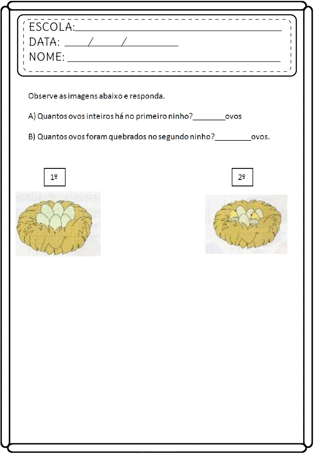 Atividades de Matemática 1 ano para imprimir