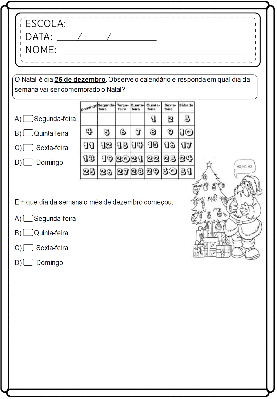 Atividades de Matemática 1 ano educativas