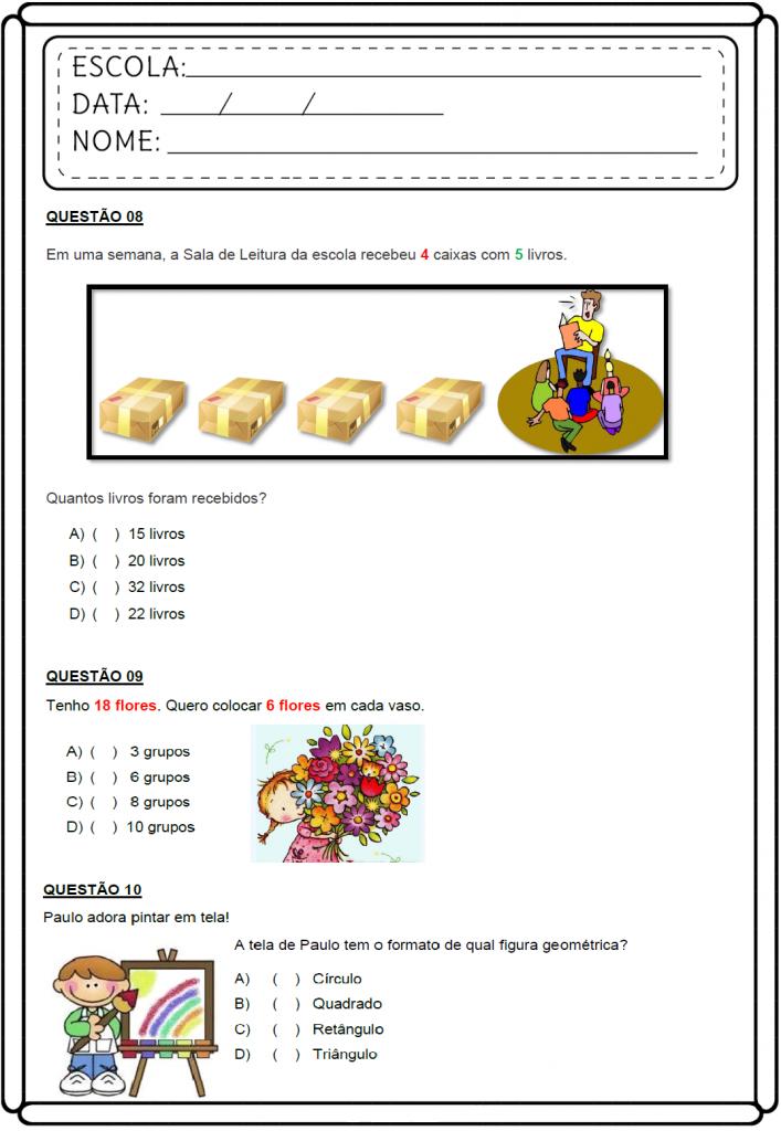 Atividades de Matemática 3 ano - Avaliação Diagnóstica