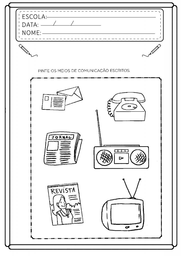 Atividades meios de comunicação educação infantil para imprimir