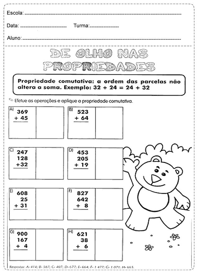 Atividades de Matemática para imprimir - 4 Ano - Folha 1
