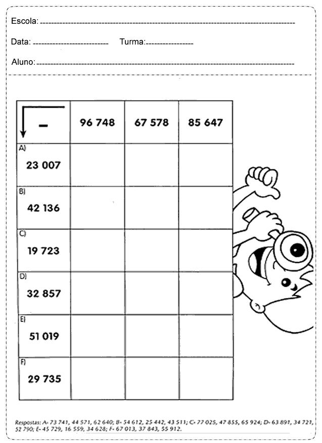 Atividades de Matemática para imprimir - 4 Ano - Folha 3