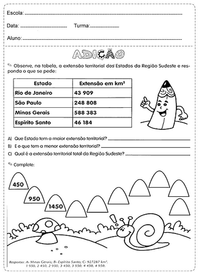 Atividades de Matemática para imprimir - 4 Ano - Folha 2