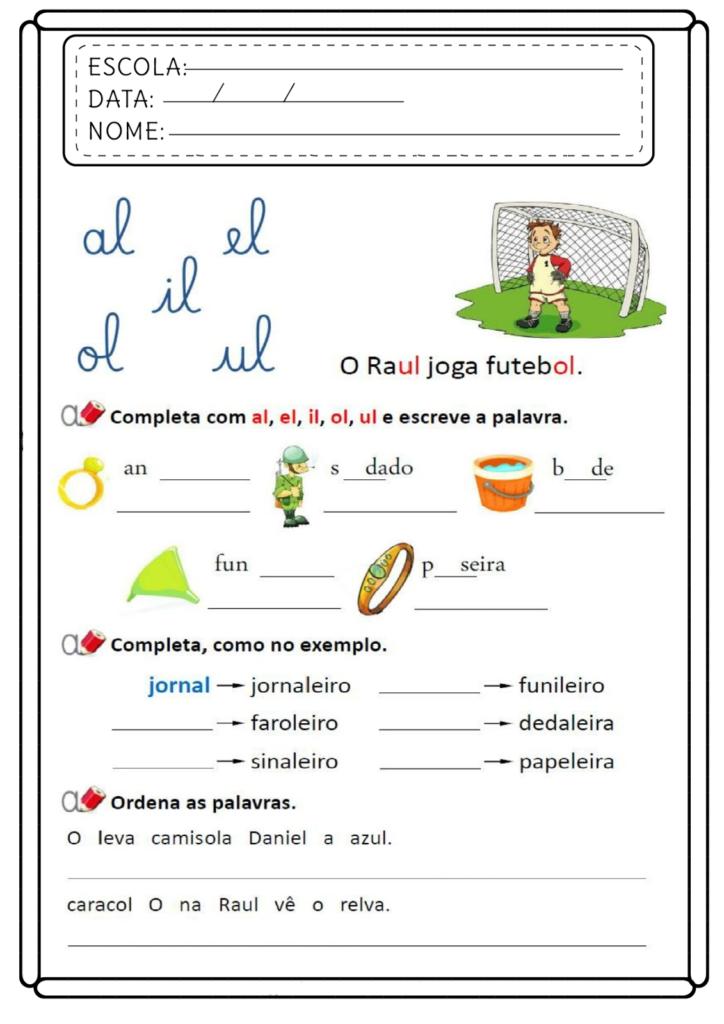 Atividades com AL EL IL OL UL - Para imprimir - Folha 06