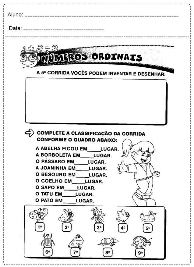 Atividades Com Números Ordinais - Para imprimir - Folha 01