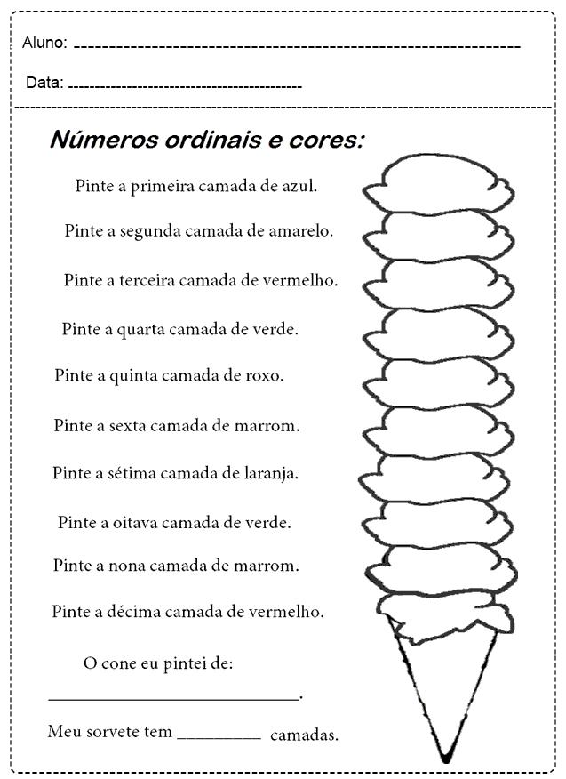 Atividades Com Números Ordinais - Para imprimir - Folha 03
