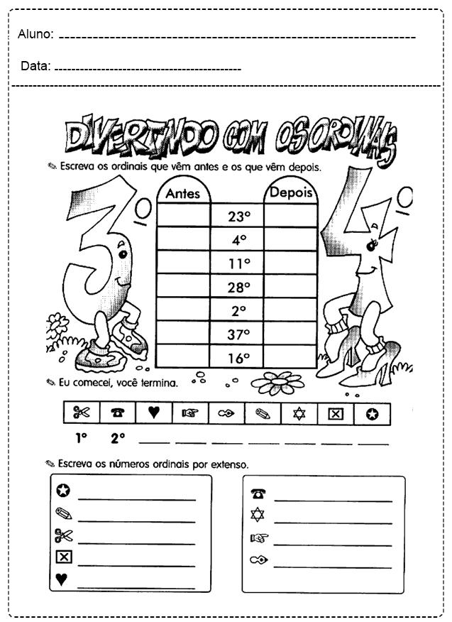 Atividades Com Números Ordinais - Para imprimir - Folha 04