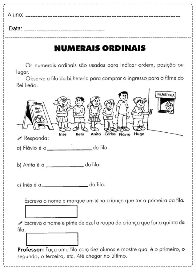 Atividades Com Números Ordinais - Para imprimir - Folha 07