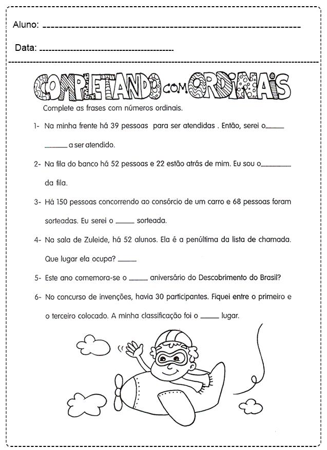 Atividades Com Números Ordinais - Para imprimir - Folha 09