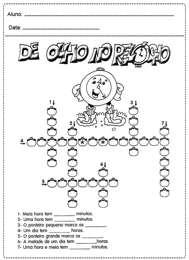 Atividades com Relógio - Para imprimir - Folha 01