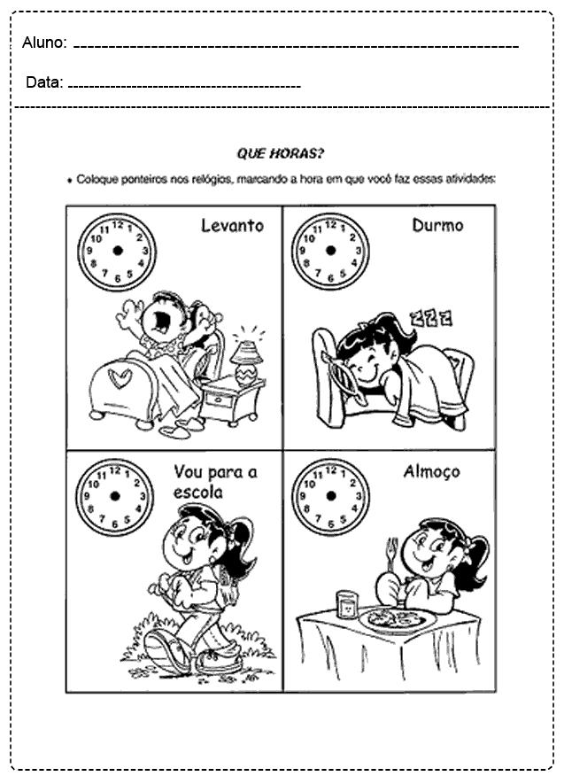 Atividades com Relógio - Para imprimir - Folha 012