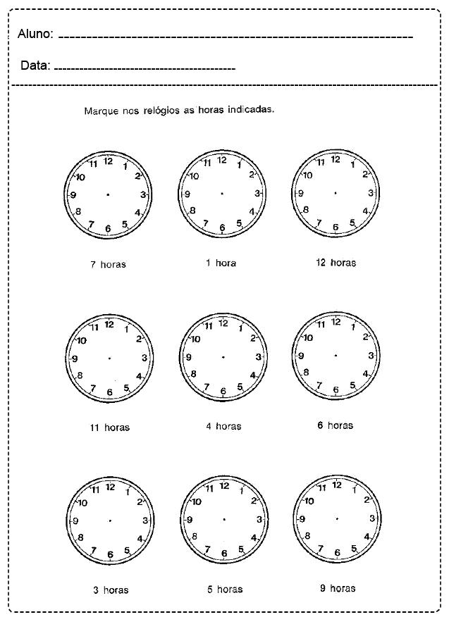 Atividades com Relógio - Para imprimir - Folha 017