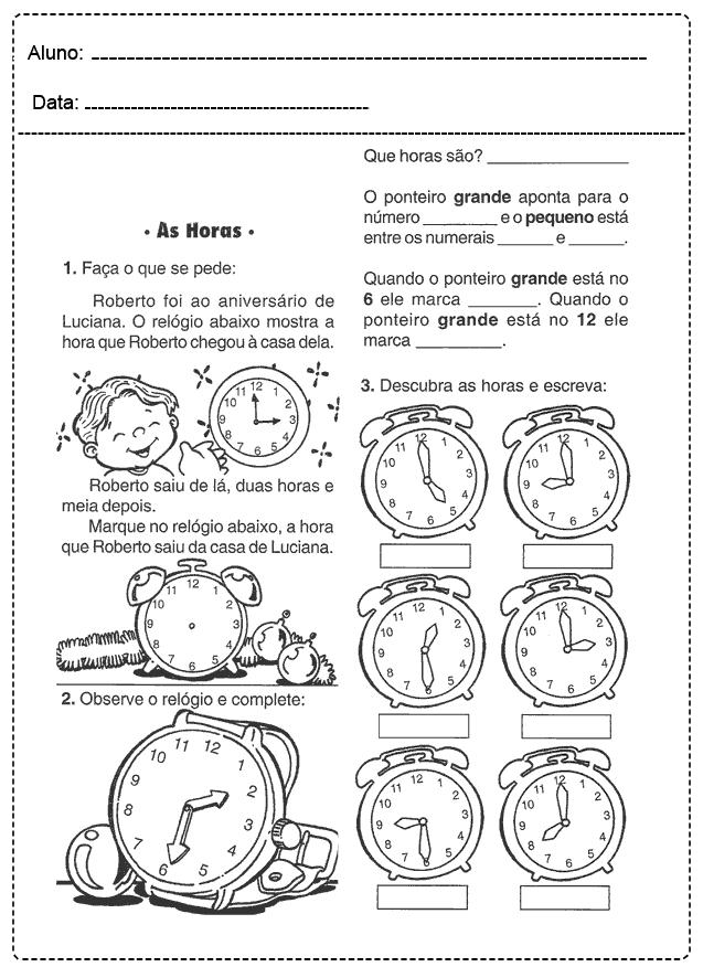 Atividades com Relógio - Para imprimir - Folha 018