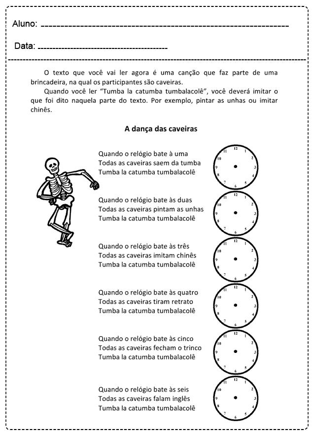Atividades com Relógio - Para imprimir - Folha 05