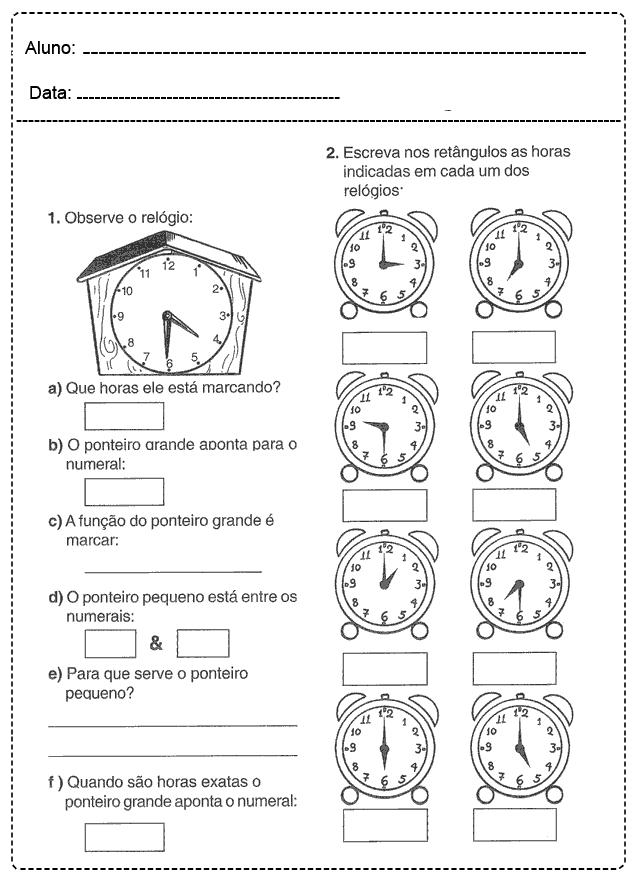 Atividades com Relógio - Para imprimir - Folha 06
