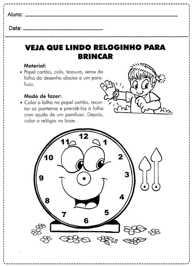 Atividades com Relógio - Para imprimir - Folha 07