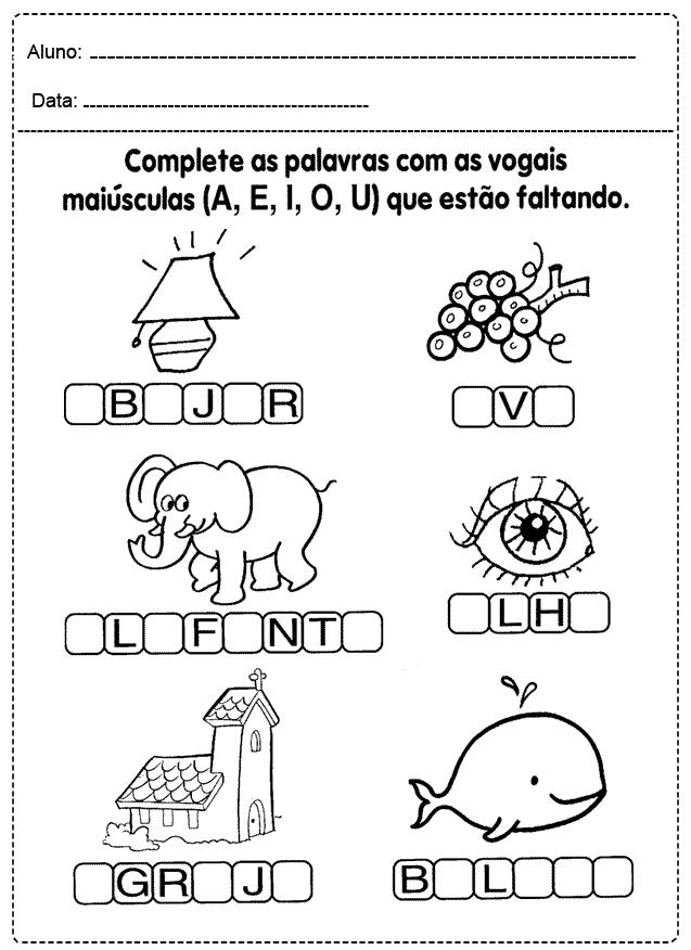 Atividades com Vogais para imprimir - FOLHA 12