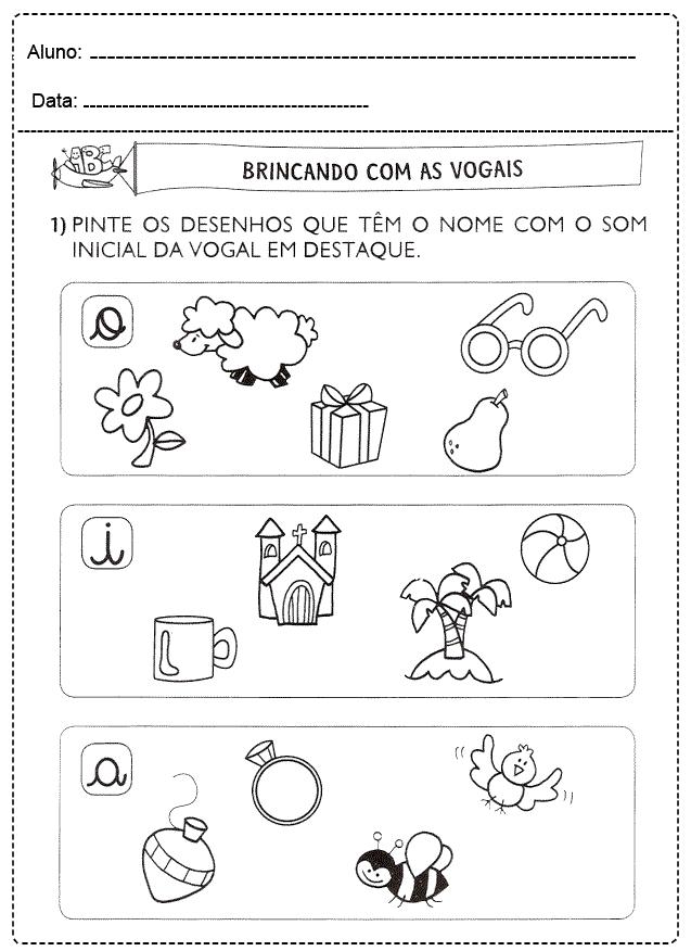 Atividades com Vogais para imprimir - FOLHA 02