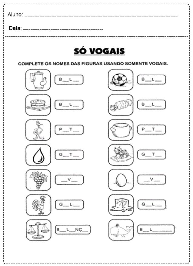 Atividades com Vogais para imprimir - FOLHA 05