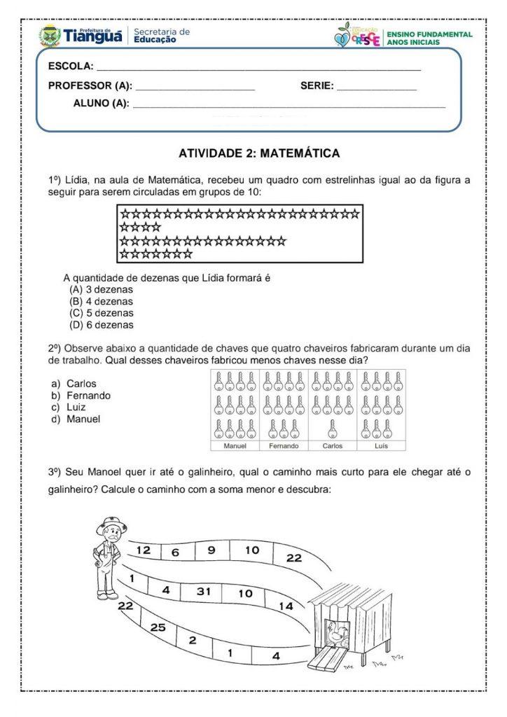 Atividades de Matemática 4 ano- Para imprimir - Folha 1