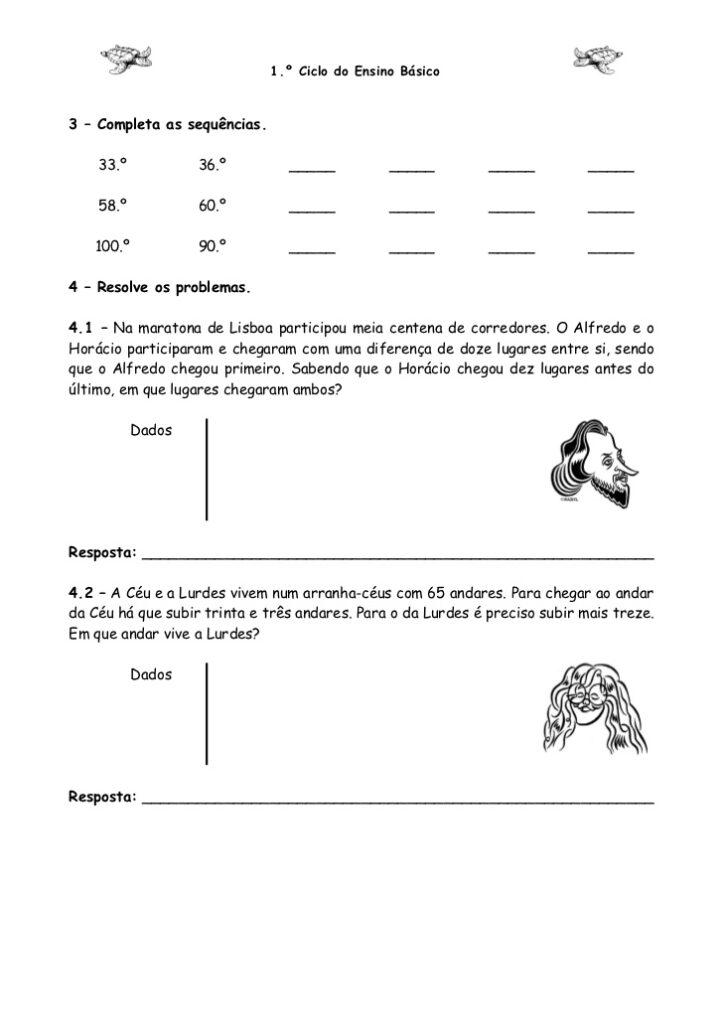 Atividades de Matemática 4 ano- Para imprimir - Folha 4