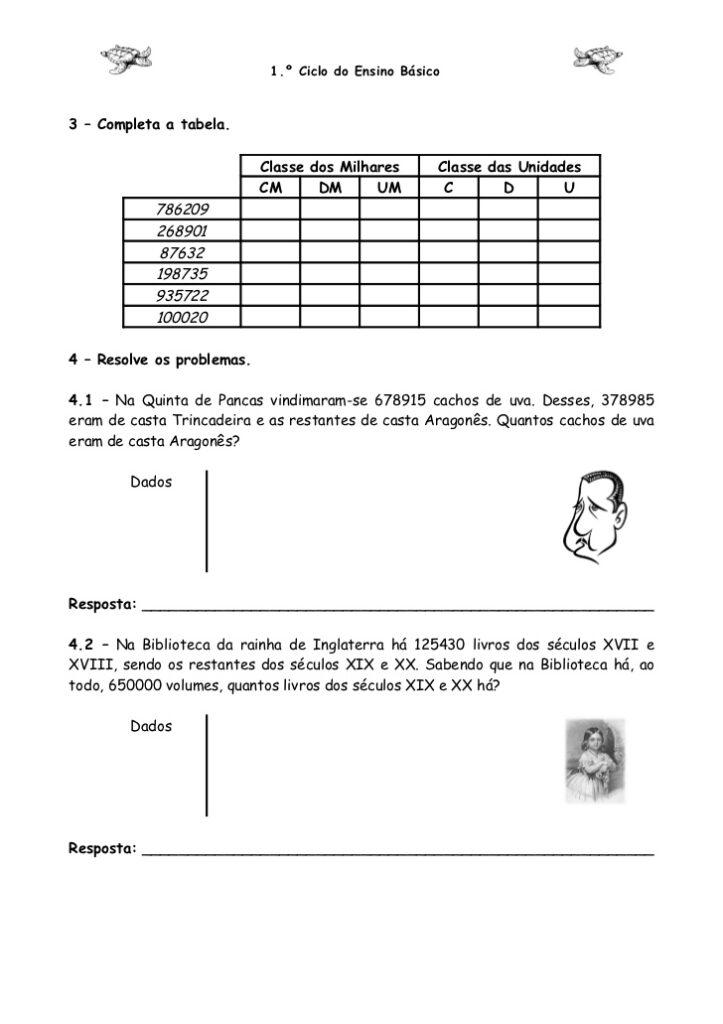Atividades de Matemática 4 ano- Para imprimir - Folha 6