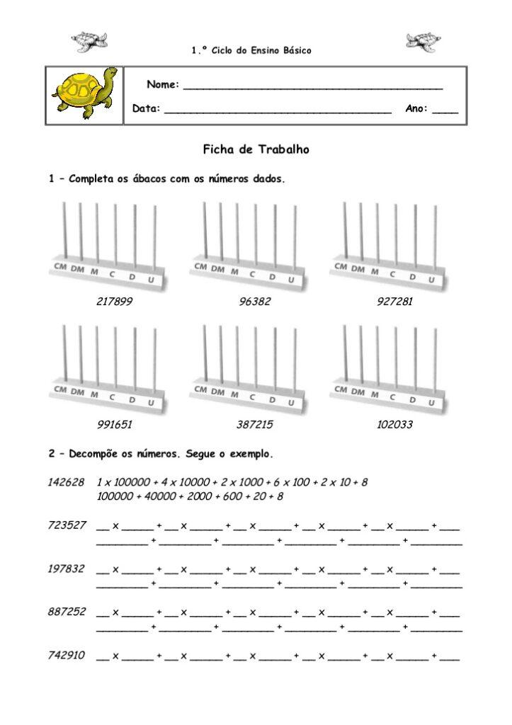 Atividades de Matemática 4 ano- Para imprimir - Folha 7