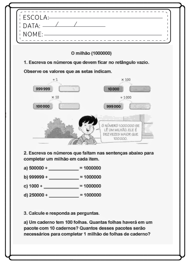 Atividades de Matemática 5 ano - Para imprimir - Folha 06