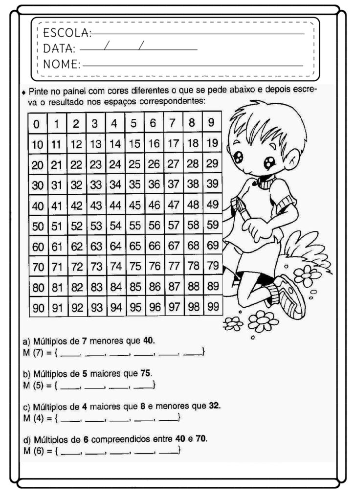 Atividades de Matemática 5 ano - Para imprimir - Folha 02