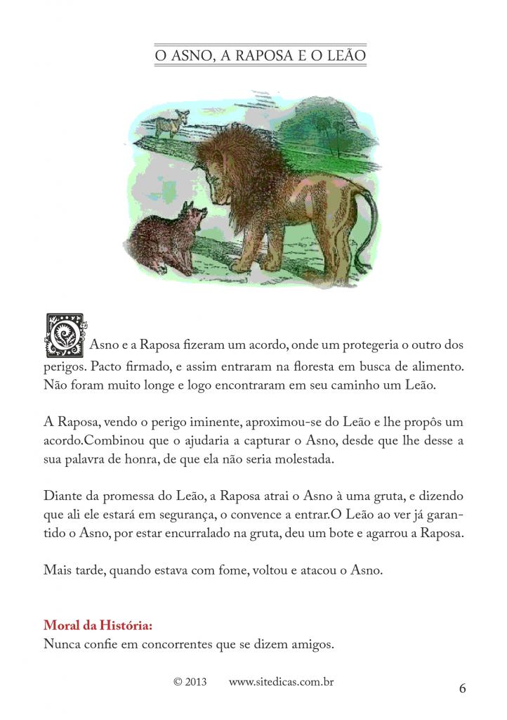 Fábulas Infantil de Esopo para imprimir - Folha 02