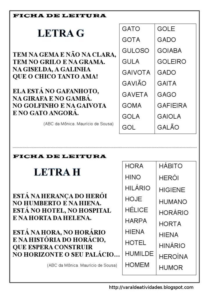 Fichas de Leitura 1 e 2 ano - Para imprimir - Folha 3