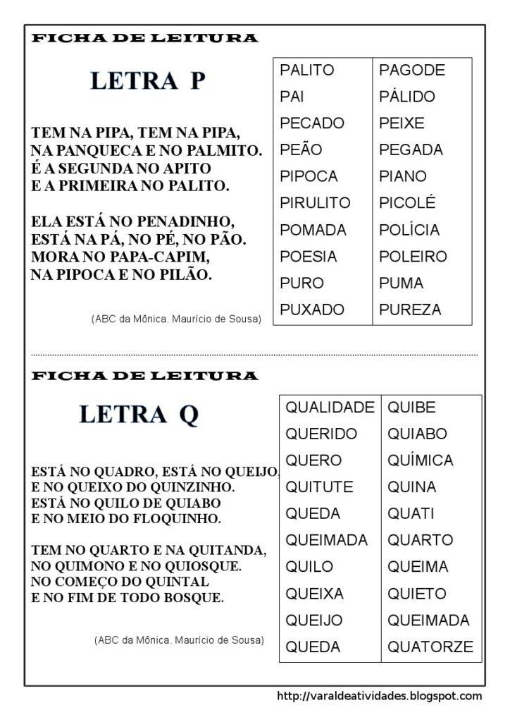 Fichas de Leitura 1 e 2 ano - Para imprimir - Folha 7
