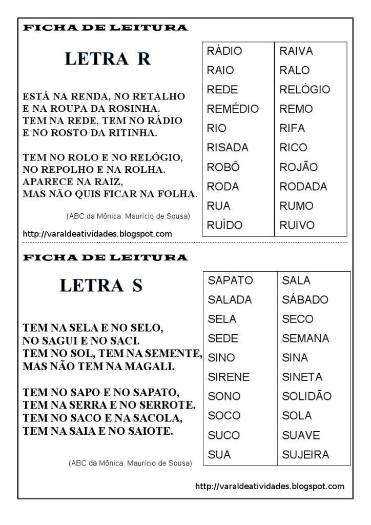 Fichas de Leitura 1 e 2 ano - Para imprimir - Folha 8