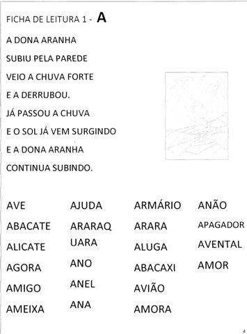 Ficha de Leitura para 1 ano Para Imprimir - Folha 1