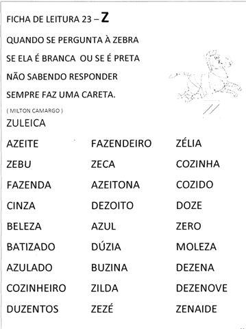 Ficha de Leitura para 1 ano Para Imprimir - Folha 24