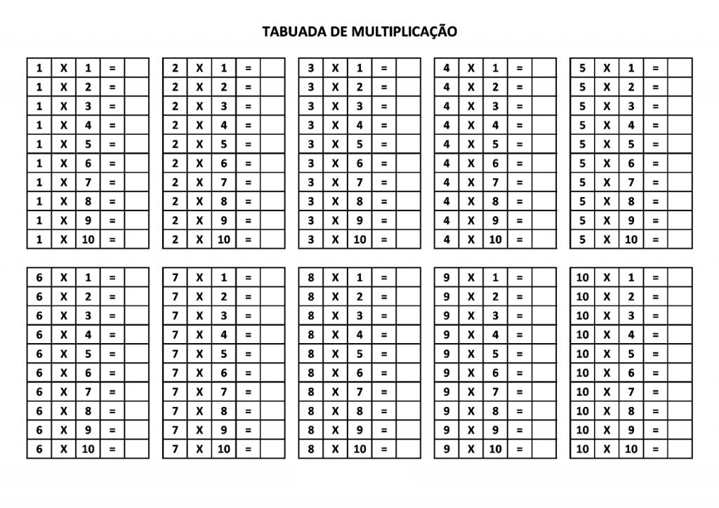 Tabuada da Multiplicação para Completar (SEM RESULTADOS) - Folha 01