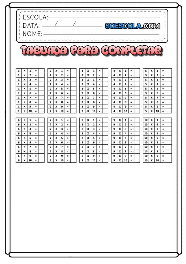 Atividades (Tabuada da Multiplicação para Completar) - Folha 02