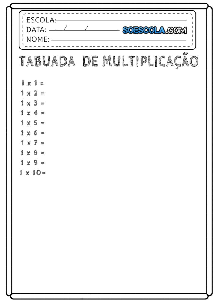 Tabuada da Multiplicação para Completar do 01