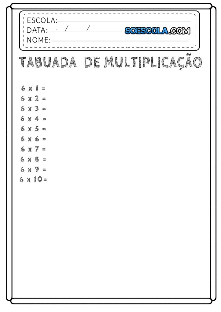 Tabuada da Multiplicação para Completar do 06
